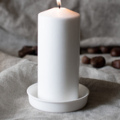 Ceramic White Candle Plate 10cm