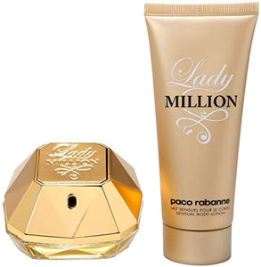 Lady Million Paco Rabanne gift set 2 pcs Eau de Parfum 2.7oz 80ml ,body lotion 3.4oz for woman