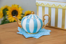 Load image into Gallery viewer, blue two cup teapot majestea co ceramic - alwaysspecialgifts.com