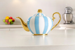 blue two cup teapot majestea co ceramic - alwaysspecialgifts.com