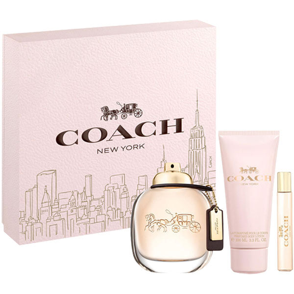 Coach New York Gift Set 4pcs Eau de Parfum 3.4oz , Body Lotion 3.3oz, Purse Spray 0.25oz