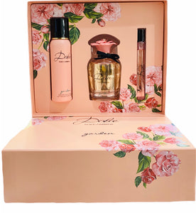 dolce dolce & gabbana garden gift set 3 pcs eau de parfum 2.5oz, body lotion 3.3oz , eau de parfum 0.33oz for womens - alwaysspecialgifts.com