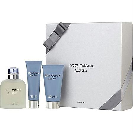 dolce & gabbana  ligth blue pour homme  gift set eau de toilette 4.2oz , shower gel 1.6oz , after shave balm 2.5oz -alwaysspecialgifts.com