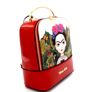 Frida Kahlo Metal Handle Backpack Black