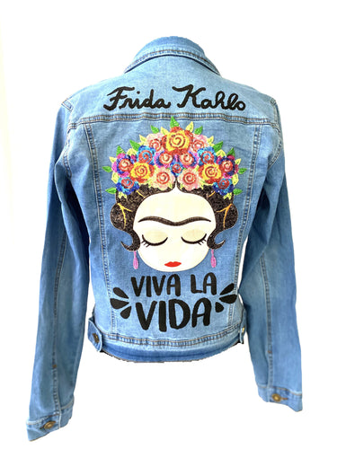 frida kahlo viva la vida eye c denim jacket -alwaysspecialgifts.com