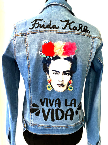 frida kahlo viva la vida flowers headband denim jacket - alwaysspecialgifts.com