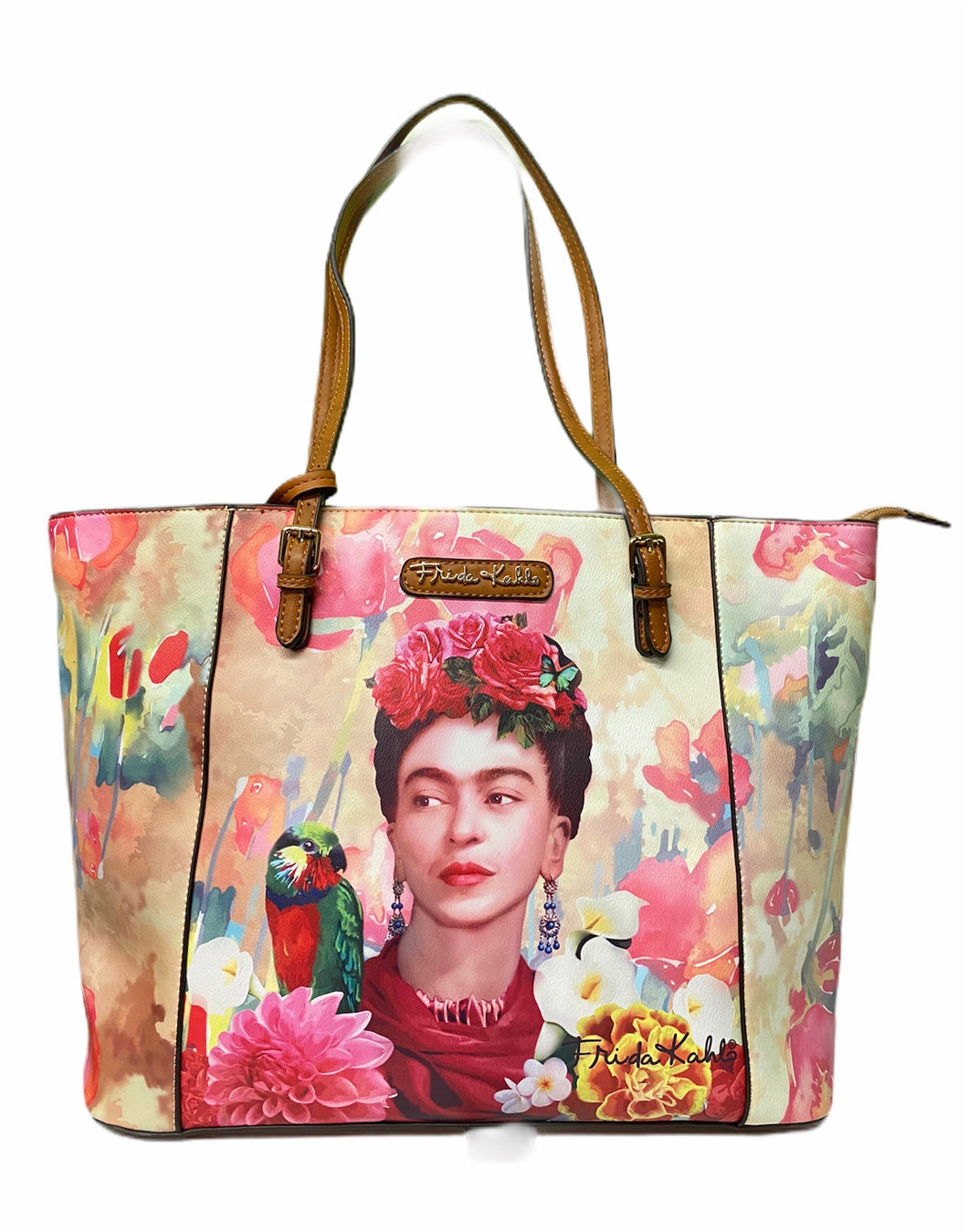 frida kahlo flowers large tote with a small wallet -alwaysspecialgifts.com