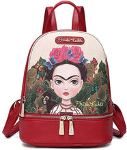 Load image into Gallery viewer, frida kahlo cartoon back pack red - alwaysspecialgifts.com