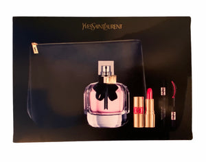 mon paris ysl gift set 4 pcs eau de parfum 3oz , mascara 2ml, lipstick 1.4ml Trousse- alwaysspecialgifts.com