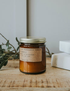 No. 04 : Teakwood & Tobacco Soy Wax Candle  7.2 oz .  p.f. candle