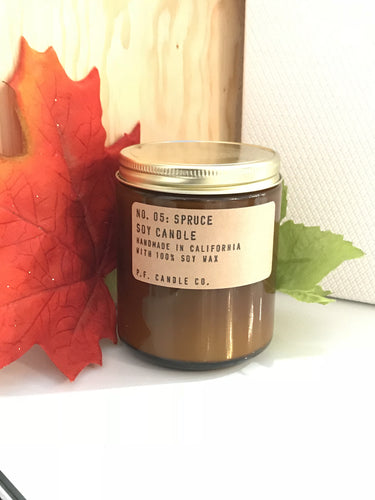 No. 05 :  Spruce  Soy Wax Candle  7.2 oz .  p.f. candle