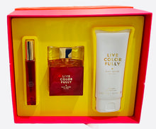 Load image into Gallery viewer, live color fully gift set 3 pcs edp 3.4oz, body lotion 3.4oz, roll-on .34oz for womens - alwaysspecialgifts.com