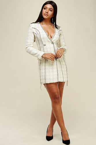 tweed jacket rhinestones dress - alwaysspecialgifts.com