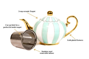 teal cup teapot majestea co ceramic - alwaysspecialgifts.com