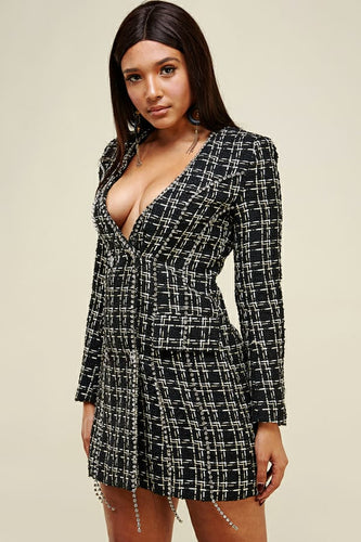 tweed black jacket rhinestones dress - alwaysspecialgifts.com