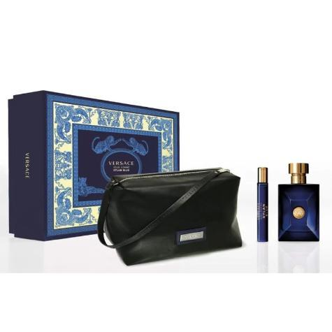 versace dylan blue 3 piece gift set for men with 3.4 oz edt spray.- alwaysspecialgifts.com