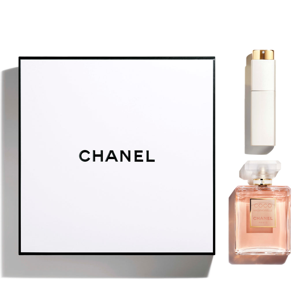 coco chanel mademoiselle gift set 2 pcs eau de parfum 3.4oz , edp spray for womens- alwaysspecialgifts.com