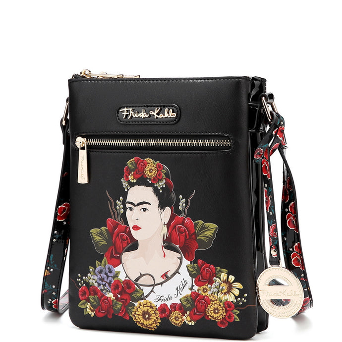authentic frida kahlo floral series compartment cross body black