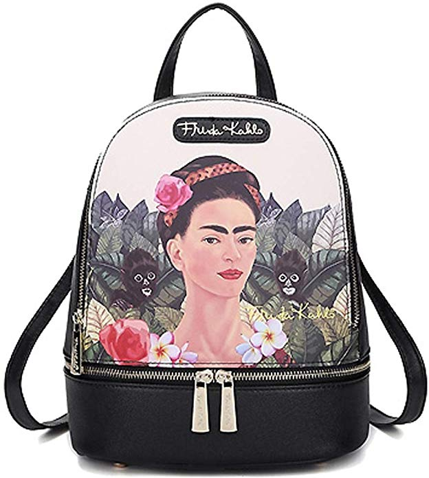 authentic frida kahlo backpack jungle monkey's small bag-alwaysspecialgifts.com