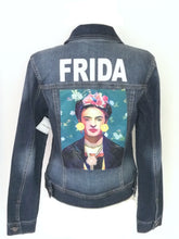 Load image into Gallery viewer, frida kahlo denim jacket green bck -alwaysspecialgifts.com