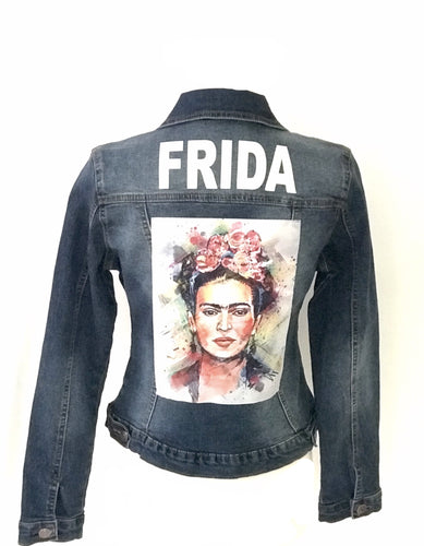 frida kahlo denim jacket vintage p - alwaysspecialgifts.com