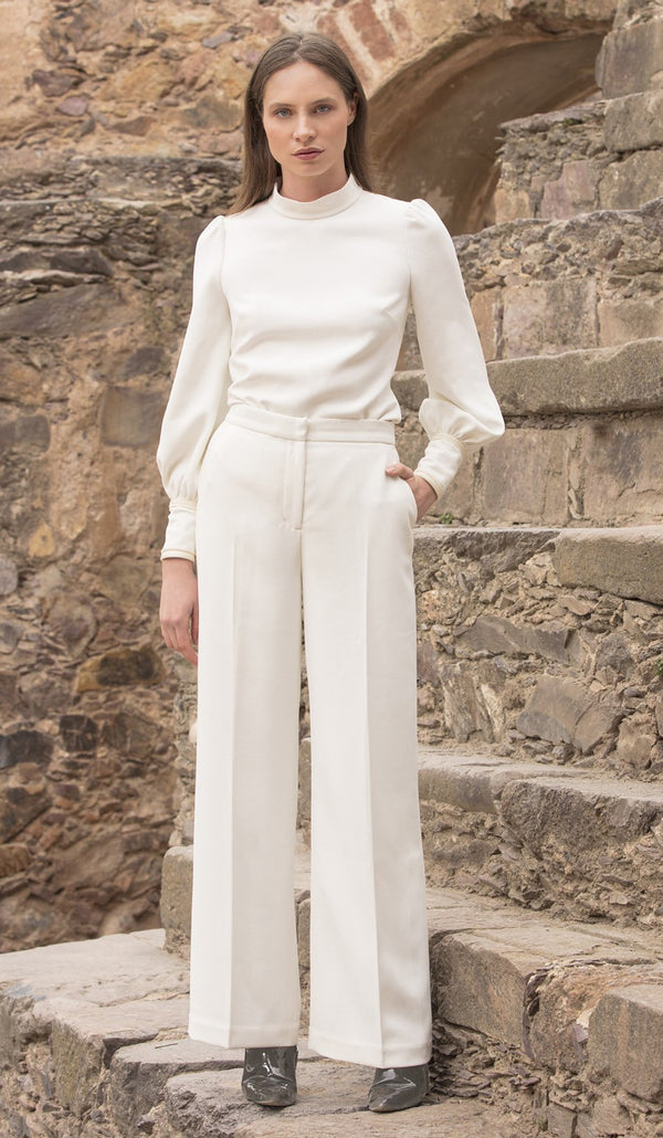 Wide Leg Crepe (Off white and Black)