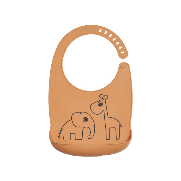 DONE BY DEER DEER FRIENDS SILICONE BIB, MUSTARD