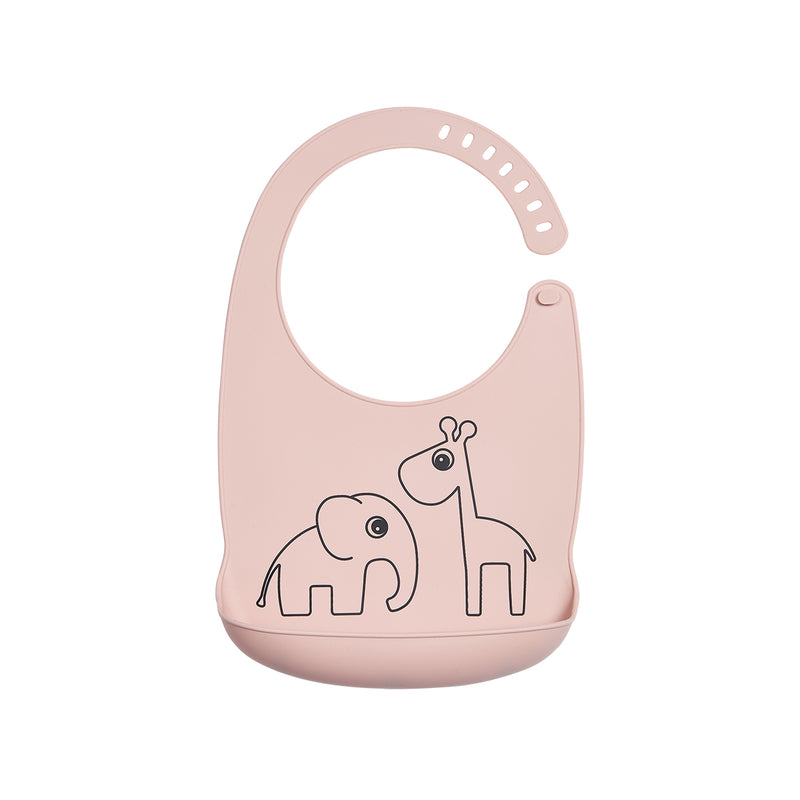 DONE BY DEER DEER FRIENDS SILICONE BIB, POWDER PINK