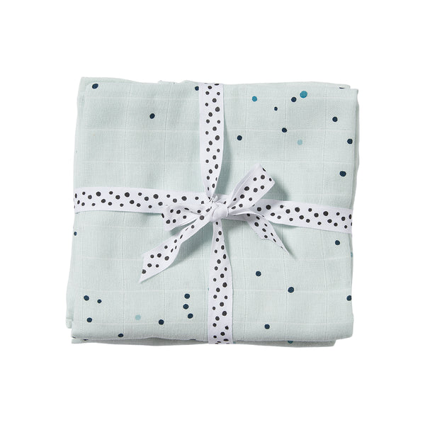 DONE BY DEER DREAMY DOTS BURP CLOTH 2 PCS, BLUE