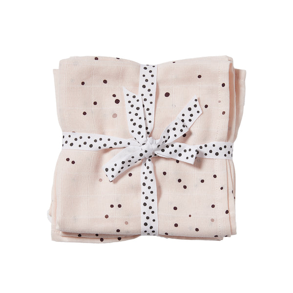 DONE BY DEER DREAMY DOTS BURP CLOTH 2 PCS, POWDER PINK