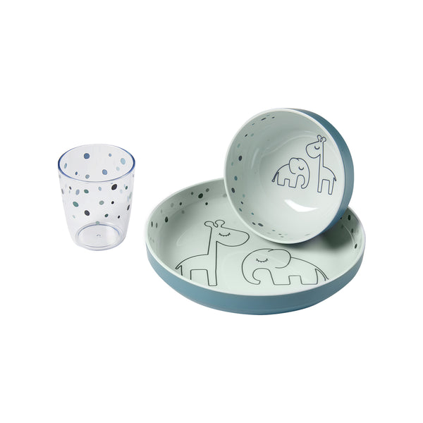 DONE BY DEER DREAMY DOTS YUMMY MINI DINNER SET, BLUE