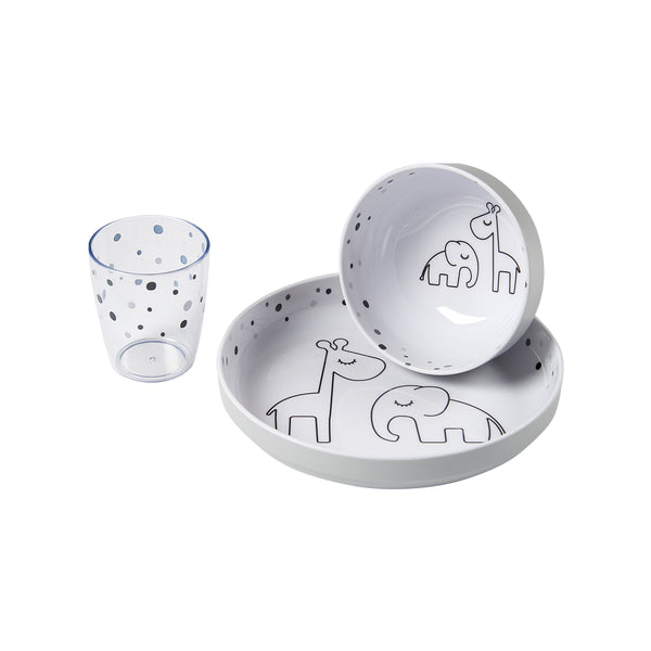 DONE BY DEER DREAMY DOTS YUMMY MINI DINNER SET, GREY
