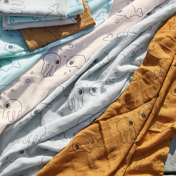 DONE BY DEER SEA FRIENDS SWADDLE 2-PACK, MUSTARD