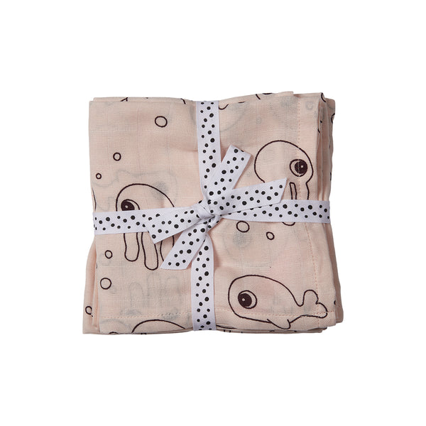 DONE BY DEER SEA FRIENDS BURP CLOTH 2-PACK, POWDER