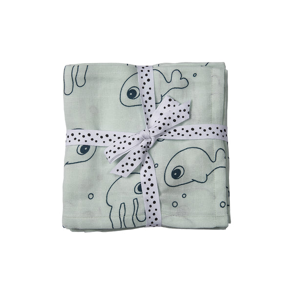 DONE BY DEER SEA FRIENDS BURP-CLOTH 2-PACK, BLUE