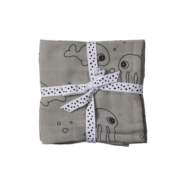 DONE BY DEER SEA FRIENDS BURP CLOTH 2-PACK, GREY