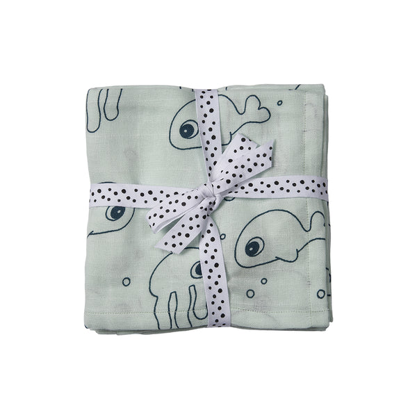 DONE BY DEER SEA FRIENDS SWADDLE 2 -PACK, BLUE
