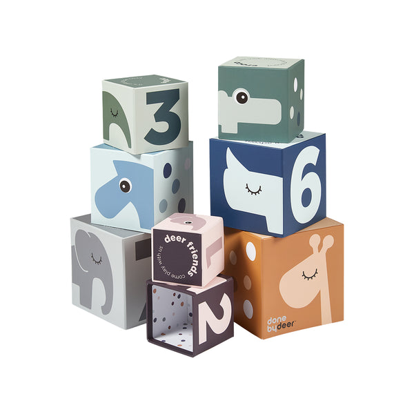 DONE BY DEER DEER FRIENDS MULTI COLOR STACKING CUBES