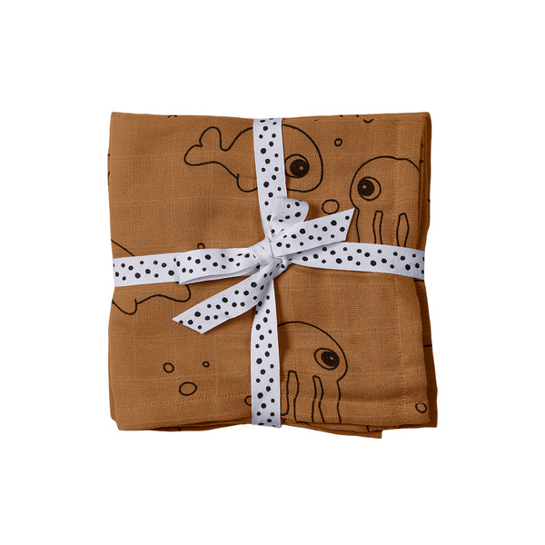 DONE BY DEER SEA FRIENDS BURP CLOTH 2-PACK, MUSTARD