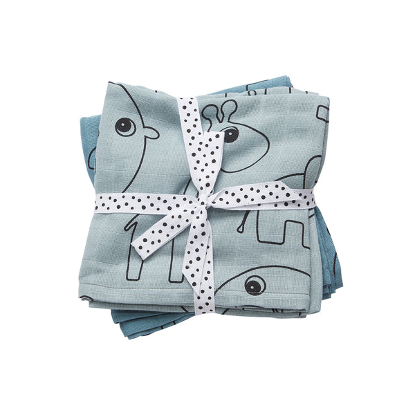 DONE BY DEER CONTOUR BURP CLOTH 2 PCS, BLUE