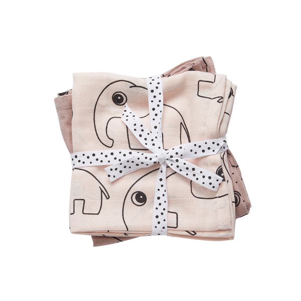 DONE BY DEER CONTOUR BURP CLOTH 2 PCS, POWDER PINK
