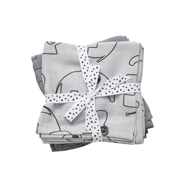 DONE BY DEER CONTOUR BURP CLOTH 2 PCS, GREY