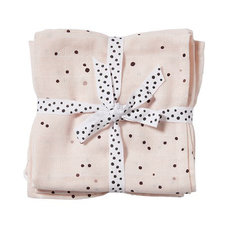 DONE BY DEER DREAMY DOTS SWADDLE 2 PCS, POWDER PINK