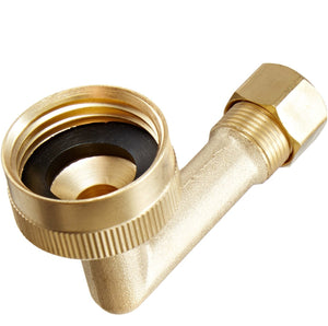 "3/4"" Female Hose x 3/8"" OD Compression Lead Free Brass Dishwasher Connector Elbow - Plumbing Parts & Hardware"