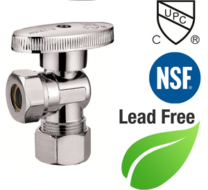 "7/16"" or 1/2"" FIP X 5/8"" OD 1/4 Turn Brass Angle Stop Valve Chrome Plated Round Body - Plumbing Parts & Hardware"