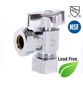 "7/16"" or 1/2"" FIP X 5/8"" OD 1/4 Turn Brass Angle Stop Valve Chrome Plated Square Body - Plumbing Parts & Hardware"