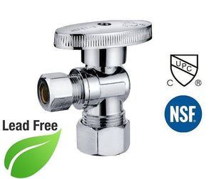 "5/8"" OD Comp x 3/8"" Comp 1/4 Turn Brass Angle Stop Valve Chrome Plated - Plumbing Parts & Hardware"