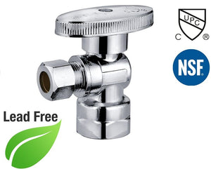 "1/2"" FIP X 3/8"" OD Comp 1/4 Turn Brass Angle Stop Valve Chrome Plated - Plumbing Parts & Hardware"