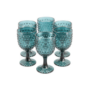 Set 6 Copas Vidrio Dining is Divine Puntos Azul