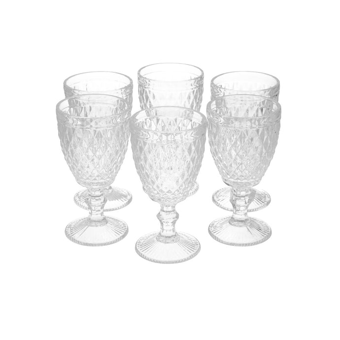 Set 6 Copas Vidrio Diamante Dining is Divine Transparente